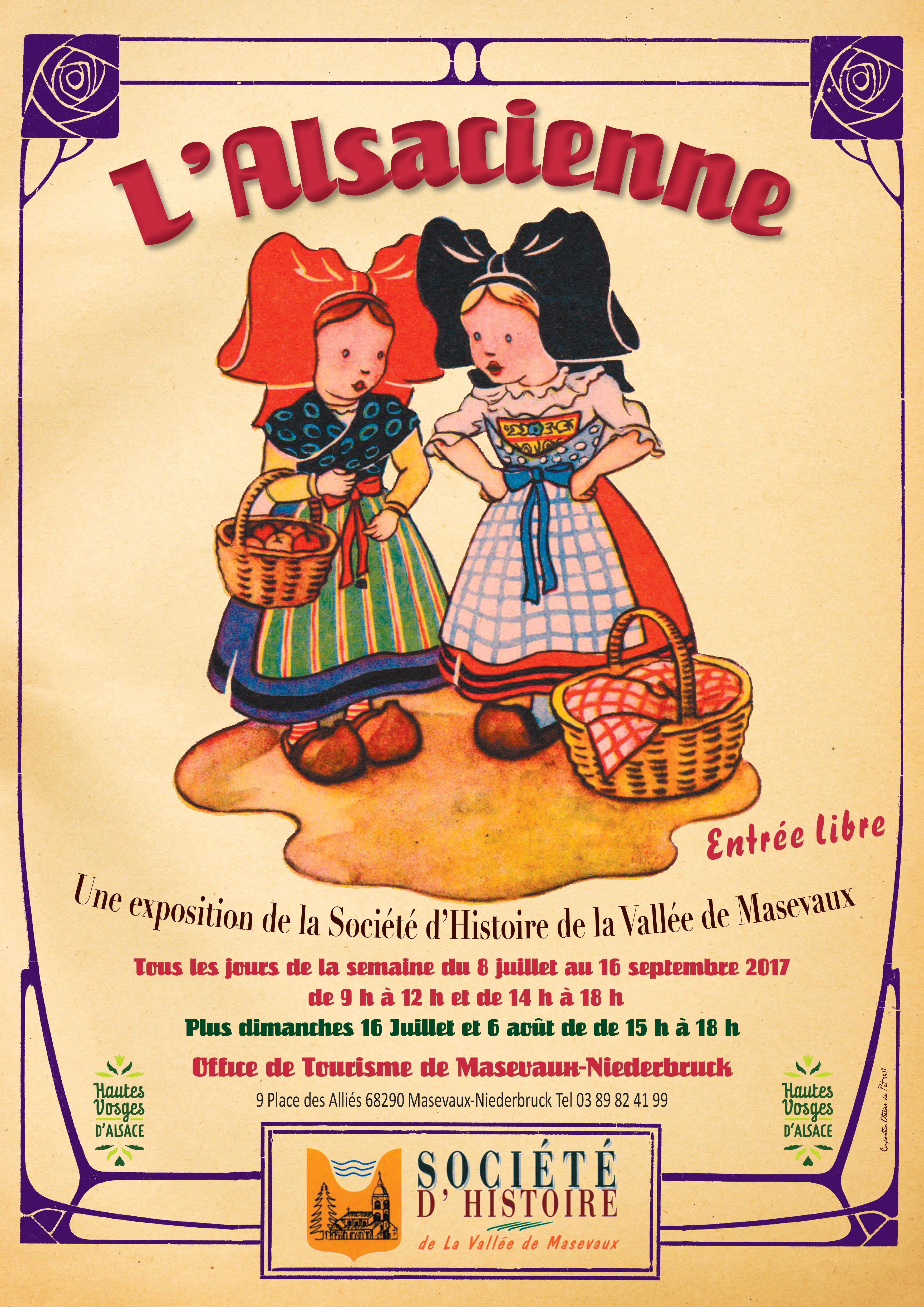 affiche l'Alsacienne roses art deco
